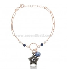 BRACELET WITH STAR IN ROSE SILVER AND Ruthenium TIT 925 ‰ AND STONES CM 18-20