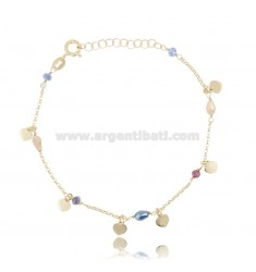 BRACELET WITH HEARTS IN SILVER GOLDEN TIT 925 ‰ AND STONES CM 17-19