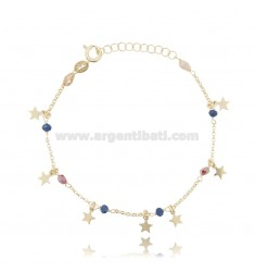 BRACELET WITH STARS IN SILVER GOLDEN TIT 925 ‰ AND STONES CM 17-19