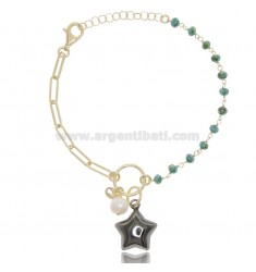 BRACELET WITH STAR IN GOLDEN SILVER AND Ruthenium TIT 925 ‰ AND STONES CM 17-19