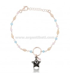 BRACELET WITH STAR IN ROSE SILVER AND RUTHENIUM TIT 925 D AND HARD STONES CM 17-19