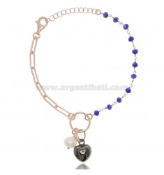 BRACELET WITH HEART IN ROSE SILVER AND Ruthenium TIT 925 ‰ AND STONES CM 17-19