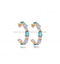 HOOP EARRINGS DIAMETER 25 MM WITH NATURAL STONES AND ZIRCONS IN ROSE SILVER TIT 925