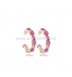 HOOP EARRINGS DIAMETER 25 MM WITH NATURAL STONES AND ZIRCONIA IN SILVER GOLDEN TIT 925