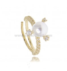 RING WITH PEARL MM 8 AND ZIRCONIA IN SILVER GOLDEN TIT 925 ADJUSTABLE SIZE