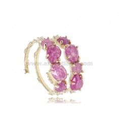 RING WITH NATURAL STONES AND ZIRCONS IN SILVER GOLDEN TIT 925 ADJUSTABLE SIZE