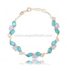 BRACELET WITH NATURAL STONES AND ZIRCONS IN ROSE SILVER TIT 925 CM 17-19