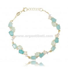 BRACELET WITH NATURAL STONES AND ZIRCONS IN SILVER GOLDEN TIT 925 CM 17-19