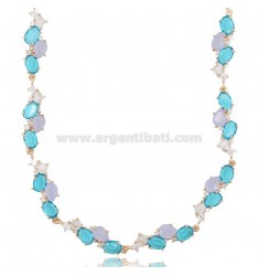 NECKLACE WITH NATURAL STONES AND ZIRCONS IN ROSE SILVER TIT 925 CM 40-43