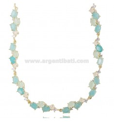NECKLACE WITH NATURAL STONES AND ZIRCONS IN SILVER GOLDEN TIT 925 CM 40-43