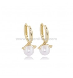 EARRINGS SNAP WITH PEARL MM 10 AND ZIRCONS IN SILVER GOLDEN TIT 925