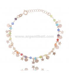 BRACELET WITH STARS, HEARTS AND STONES IN ROSE SILVER TIT 925 ‰ CM 17-19