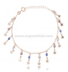 ROLO BRACELET 'WITH STARS AND STONES IN ROSE SILVER TIT 925 ‰ CM 17-19