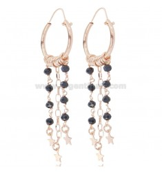 CIRCLE EARRINGS DIAM 15 WITH ROLO ', STARS AND STONES IN ROSE SILVER TIT 925