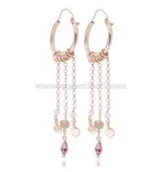 CIRCLE EARRINGS DIAM 15 WITH ROLO ', HEARTS AND STONES IN ROSE SILVER TIT 925