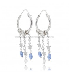 HOOP EARRINGS DIAM 15 WITH ROLO ', STARS AND STONES IN SILVER RHODIUM-PLATED TIT 925 ‰
