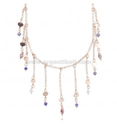 ROLO NECKLACE WITH HEARTS AND STONES IN ROSE SILVER TIT 925 ‰ CM 38-42