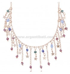 ROLO NECKLACE WITH STARS AND STONES IN ROSE SILVER TIT 925 ‰ CM 38-42
