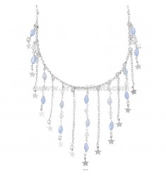 ROLO NECKLACE WITH STARS AND STONES IN RHODIUM-PLATED SILVER TIT 925 ‰ CM 38-42