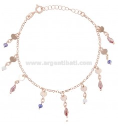 ROLO BRACELET WITH HEARTS AND STONES IN ROSE SILVER TIT 925 ‰ CM 17-19