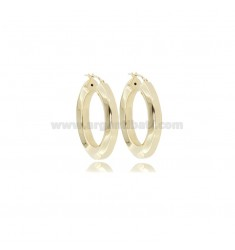 HOOP EARRINGS DIAM 20 A HEXAGONAL BARREL 5.5 MM SILVER GOLDEN TIT 925