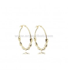 HOOP EARRINGS DIAM 25 TORCHON BARREL 3.5 MM SILVER GOLDEN TIT 925
