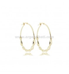 CIRCLE EARRINGS DIAM 30 TORCHON BARREL 3.5 MM SILVER GOLDEN TIT 925