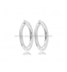 HOOP EARRINGS DIAM 30 HEXAGONAL BARREL 5.5 MM SILVER RHODIUM TIT 925