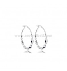 HOOP EARRINGS DIAM 25 TORCHON BARREL 3.5 MM SILVER RHODIUM TIT 925