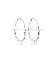 CIRCLE EARRINGS DIAM 30 TORCHON BARREL 3.5 MM SILVER RHODIUM TIT 925