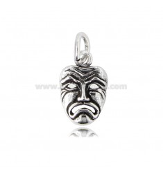 SAD THEATER MASK PENDANT 20X13 MM IN BURNISHED SILVER TIT 800
