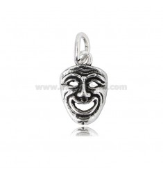 PENDANT MASK SMILING THEATER MM 20X13 IN BURNISHED SILVER TIT 800