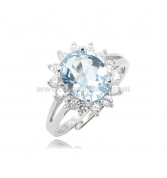 KATE RING IN SILVER RHODIUM TIT 925 AND WHITE AND LIGHT BLUE ZIRCONS, ADJUSTABLE SIZE 11