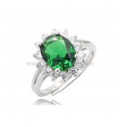 KATE RING IN SILVER RHODIUM-PLATED TIT 925 AND WHITE AND GREEN ZIRCONS, ADJUSTABLE SIZE OF 1