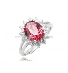 KATE RING IN SILVER RHODIUM-PLATED TIT 925 AND WHITE AND RED ZIRCONS, ADJUSTABLE SIZE OF 15