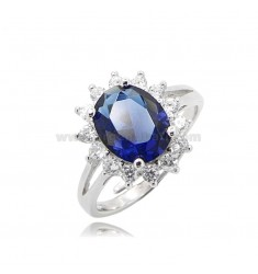KATE RING IN SILVER RHODIUM-PLATED TIT 925 AND WHITE AND BLUE ZIRCONIA ADJUSTABLE SIZE 11