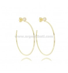 HOOP EARRINGS DIAM 40 ROUND BARREL MM 1.5 IN SILVER GOLDEN TIT 925 AND ZIRCON