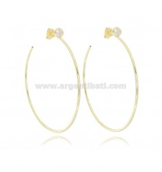 HOOP EARRINGS DIAM 50 ROUND BARREL MM 1.5 IN SILVER GOLDEN TIT 925 AND ZIRCON