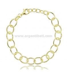 CABLE BRACELET POLISHED AND DIAMOND CANE 13 MM SILVER GOLDEN TIT 925 CM 18