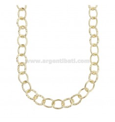 CABLE NECKLACE POLISHED AND DIAMOND BARREL 13 MM SILVER GOLDEN TIT 925 CM 45