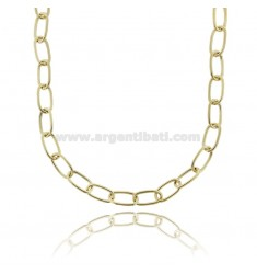 CABLE NECKLACE EXTENDED MM 17X9 ROUND BARREL MM 1,6 IN SILVER GOLDEN TIT 925 CM 45