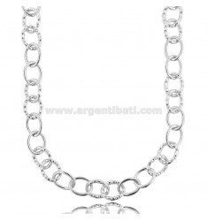CABLE NECKLACE POLISHED AND DIAMOND ROD 13 MM SILVER RHODIUM TIT 925 CM 45