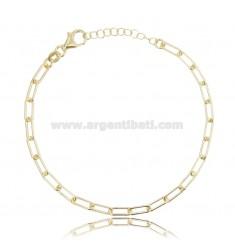 CABLE BRACELET EXTENDED 9X3.5 MM ROUND BARREL 1 MM SILVER GOLDEN TIT 925 CM 19-21