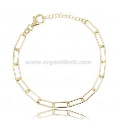 CABLE BRACELET EXTENDED MM 13X5 ROUND BARREL 1.2 MM SILVER GOLDEN TIT 925 CM 17-19