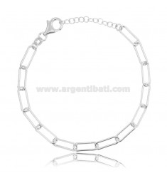 CABLE BRACELET EXTENDED MM 13X5 ROUND BARREL 1.2 MM SILVER RHODIUM TIT 925 CM 17-19