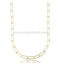 CABLE NECKLACE EXTENDED MM 13X5 ROUND BARREL 1.2 MM SILVER GOLDEN TIT 925 CM 45