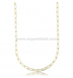 CABLE NECKLACE EXTENDED 9X3.5 MM ROUND BARREL 1 MM SILVER GOLDEN TIT 925 CM 45