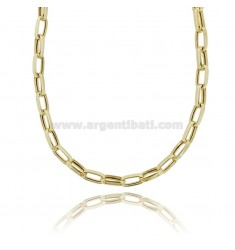 CABLE NECKLACE EXTENDED MM 15X8 CRUSHED BARREL 3.4 MM SILVER GOLDEN TIT 925 CM 45