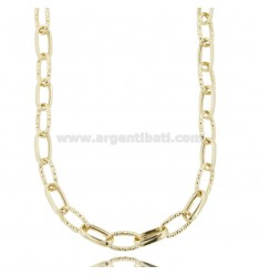 CABLE NECKLACE EXTENDED MM 15X8 CRUSHED BARREL 3.4 MM SILVER DIAMOND AND GOLDEN TIT 925 CM 45