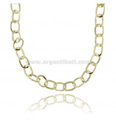 NECKLACE WITH SQUARE LINKS MM 14X10 SQUARE BARREL 1.6 MM SILVER GOLDEN TIT 925 CM 45
